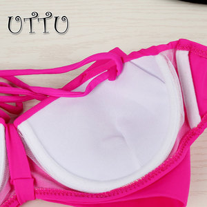 Image 3 - UTTU High Quality Sexy Push Up Bow Bikini Women Solid Strappy Swimsuit Brazilian Beach White Swimwear Samll Bust Bathing Suit