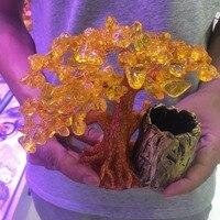 Penholder Citrine Crystal Quartz Gemstone Bonsai Lucky Tree 430 GRAMS
