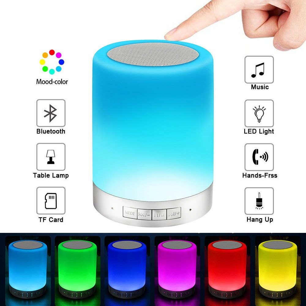 Touch Bedside Lamp with Bluetooth Speaker Dimmable Warm White Table Lamp & RGB Color Changing LED Mood Light BT Blutooth Speaker