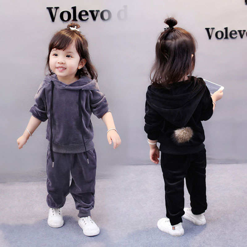 Spring autumn little kids girls baby clothes outfits hooded casual tracksuit for baby girls child clothing sports suit 2pcs sets