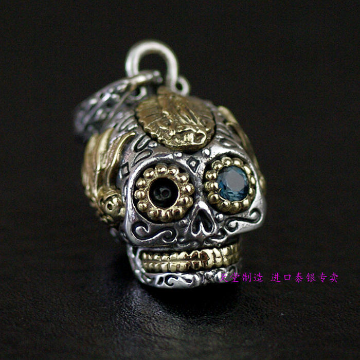 Thailand imports, genuine GV new Madonna seal skull Silver Pendant thailand imports skull blood new skeleton silver ring