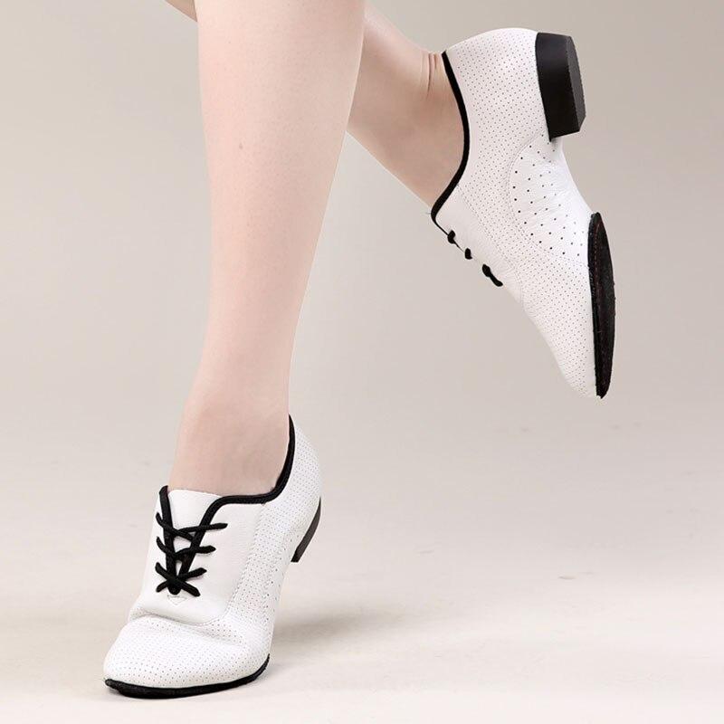 USHINE blanc semelle souple en cuir véritable entraînement de Fitness BD Ballet Jazz chaussures de danse latine femme chaussures