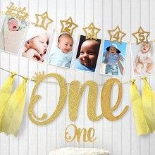 DIY 골드 더스트 스타 포토 프레임 배너 1 생일 장식 벽 사진 액자 1 년 생일 파티 장식 어린이