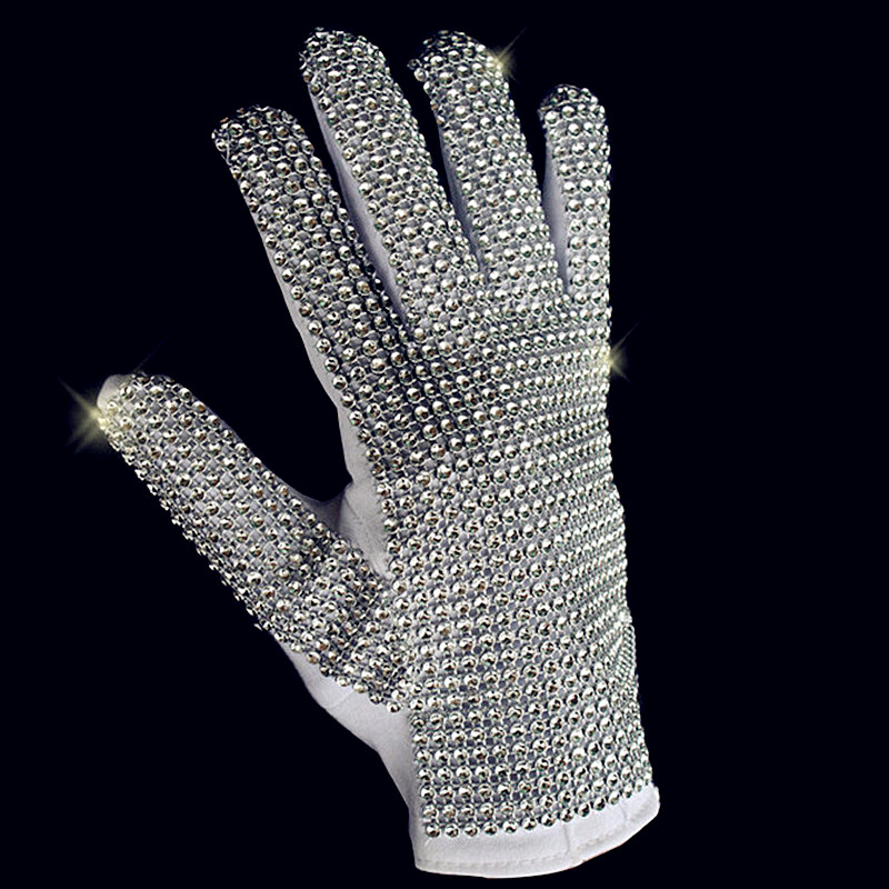 Classic MJ Silver Crystal Single Size Glove Handmade Collection1:1 Michael Jackson Cotton Performance Gloves Men Luva Tatica