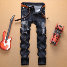 2019 Autumn winter ripped jeans men distressed high quality black printed fashion hip hop plus size straight male denim jeans