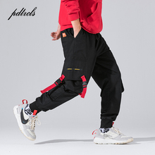 New Harajuku Cotton Multi-Pockets Safari Style Fashion Cargo Pants Men Autumn Hip Hop Streetwear Casual Elastic Trousers Camo multi pockets drawstring cuff camo cargo pants