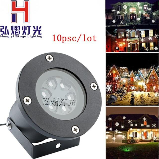 10psc Snowflake Christmas Lights Moving Sparkling Led Landscape Laser Projector Star Light Lamp Waterproof Garden