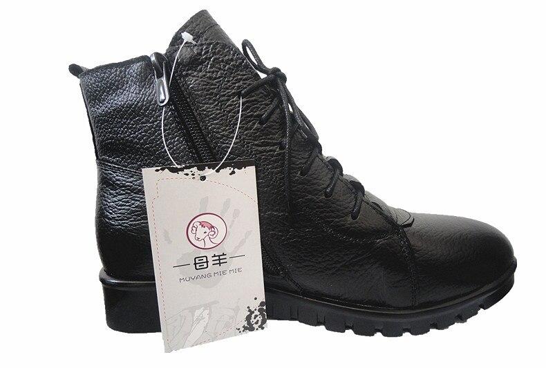 Image 4 - MUYANG MIE/зимняя женская обувь размера плюс (35 43) женские ботильоны из натуральной кожи на плоской подошве зимние ботинки женские ботинки-in Полусапожки from Обувь