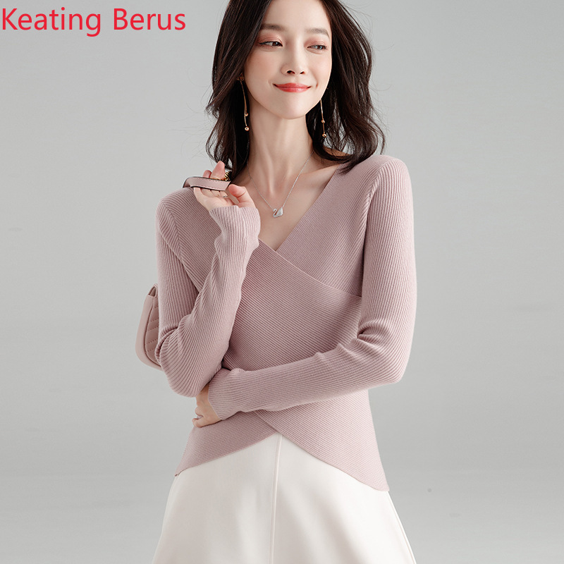 Women's Spring New Sweater Loose Wool Solid Color Bottoming Shirt Cross-shaped Slim Temperament Elegant Women's Clothing 0907 Price $18.88