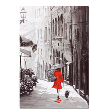 Print Wall Art Retro Abstract City Rain Day Street Landscape Poster Oil Painting on Canvas Modern Wall Picture For Living Room