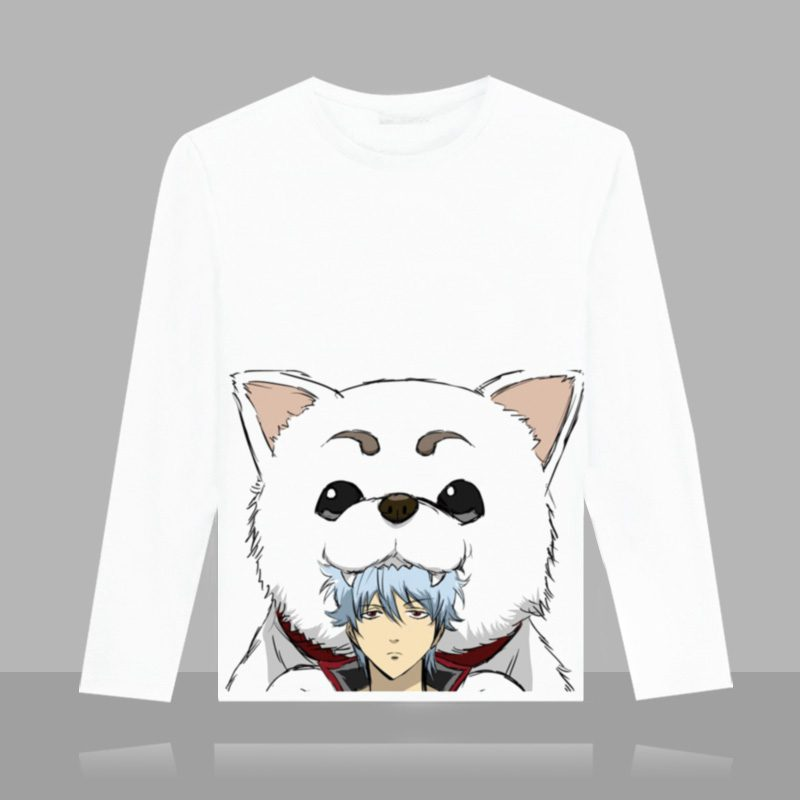 Anime Gintama Cartoon Printed T-shirt Silver Soul Sakata Gintoki Casual Unisex Long Sleeve Tops Autumn Tee Plus Shirt S-3XL