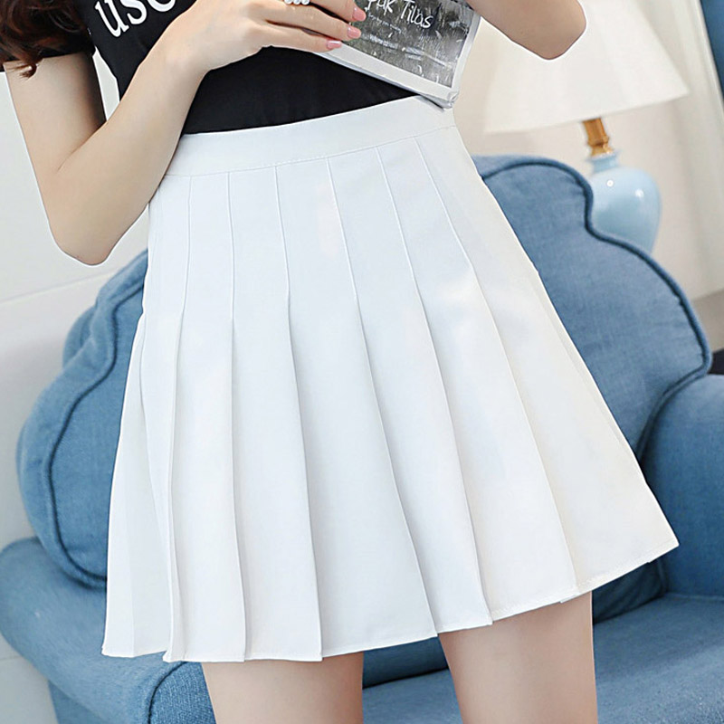 OHRYIYIE Pleated Skirt Women Preppy Style High Waist Mini A-line Tutu Skirt Female Blue Pink Kawaii Sun School Skirt Saia Faldas