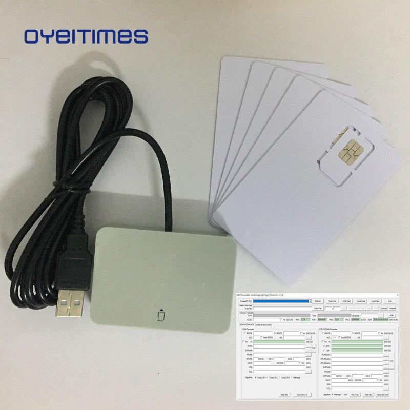 OYEITIMES 4G LTE programmeur de lecteur de carte SIM + 5 pièces 128k 4G LTE cartes SIM vierges 1PC logiciel de carte SIM Milenage livraison gratuite
