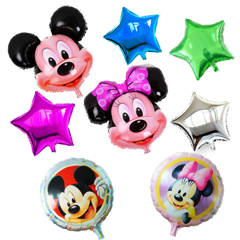 BINGTINA 8 pcs New Arrival Mickey Mouse Happy Birthday Balloon Decoration Cartoo