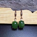natural green jasper drop earrings 925 silver Natural gemstone earring women Classic elegant round drop earrings for party