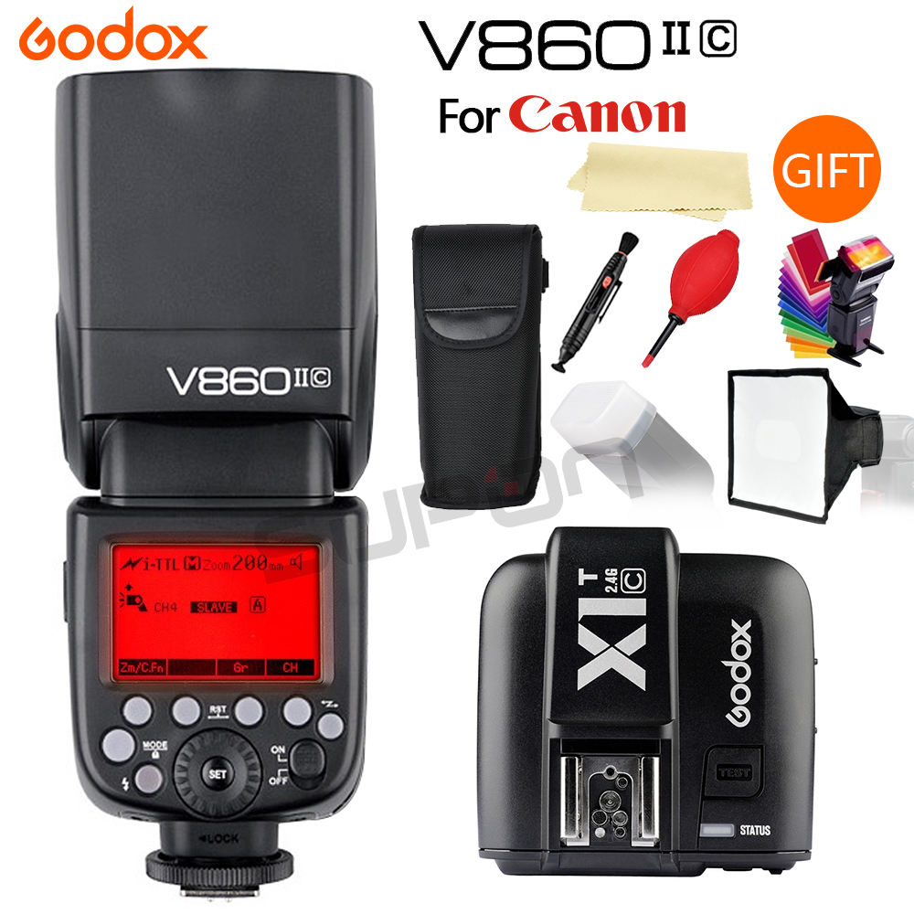 Godox V860II Flash Speedlite 2.4G 1/8000s with 2000mAh Li-on Battery Wireless Camera Flash +XIT Trigger for Canon/Nikon/Sony 2pcs godox cells ii 1 8000s wireless transceiver trigger kit for canon eos camera speedlite and studio flashes