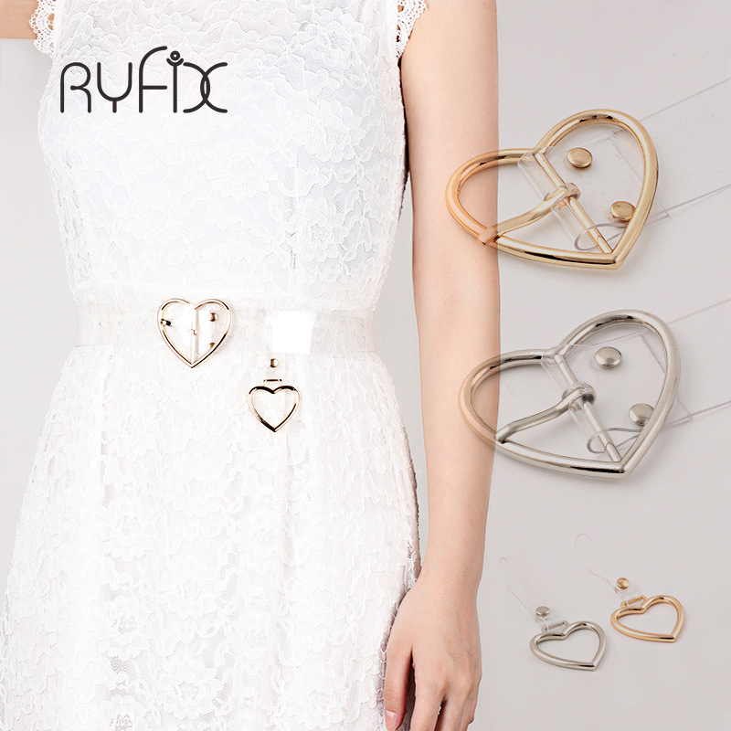 Preppy Simple Style Womens Cute Heart Belts Buckle Transparent PVC Belt Gril Casual Strap White Color Fashion dress Belts AA02