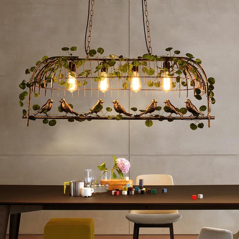 Nordic завод ресторан творческий подвесной светильник Ретро Bird Cage подвесной светильник персонализированные студия цветок украшения подвесны