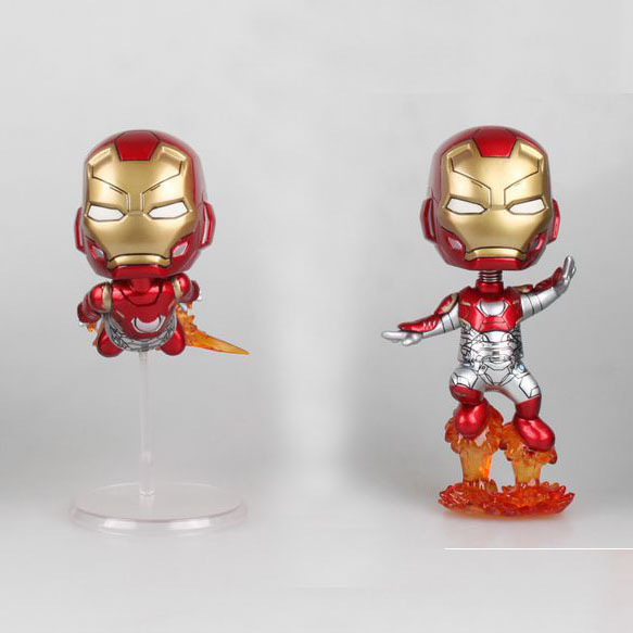 "Free Shipping Cute 4"" Super Hero Ironman Iron Man Flying Ver. Bobble Head Shaking Head Toy Model Car Decoration PVC Figure Doll"