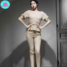 2019 summer new Korean fashion tide two-piece suit Slim one-neck shirt striped pants