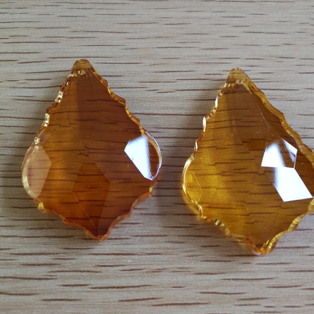 все цены на glass Chandelier prism Topaz maple leaf 50mm 50 pieces crystal Hanging Drop