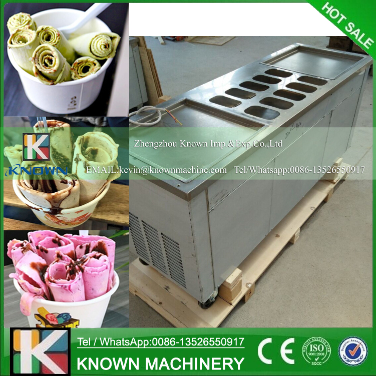 CE Approved 220 V 60 Hz Double Pans Fried Ice Cream Machine With Import Compressor