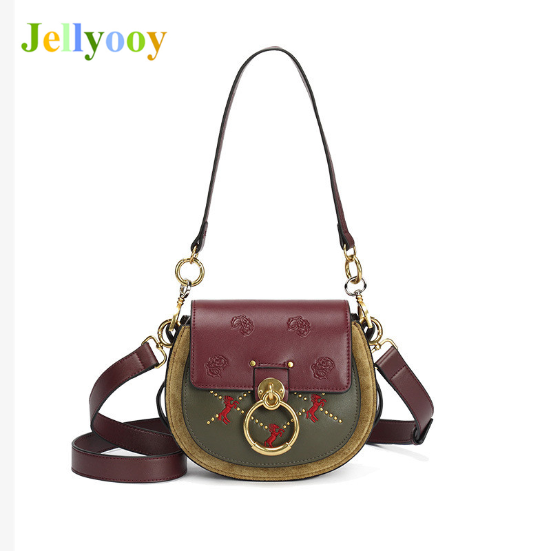 Luxury Brand Women Handbags Contrast Color Genuine Cowhide Leather Shoulder Bags Famous Designer Ring Saddle Bag Sac A Main 2019