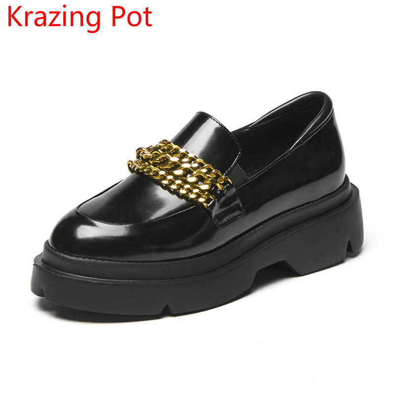 Fashion Brand Spring Shoes Classic Cow Leather Round Toe Slip on Metal Chains Women Pumps Platform Superstar Runway Shoes L13 2017 superstar cow leather platform european ankle strap peep toe print mixed colors classic women increased runway sandals 0 4