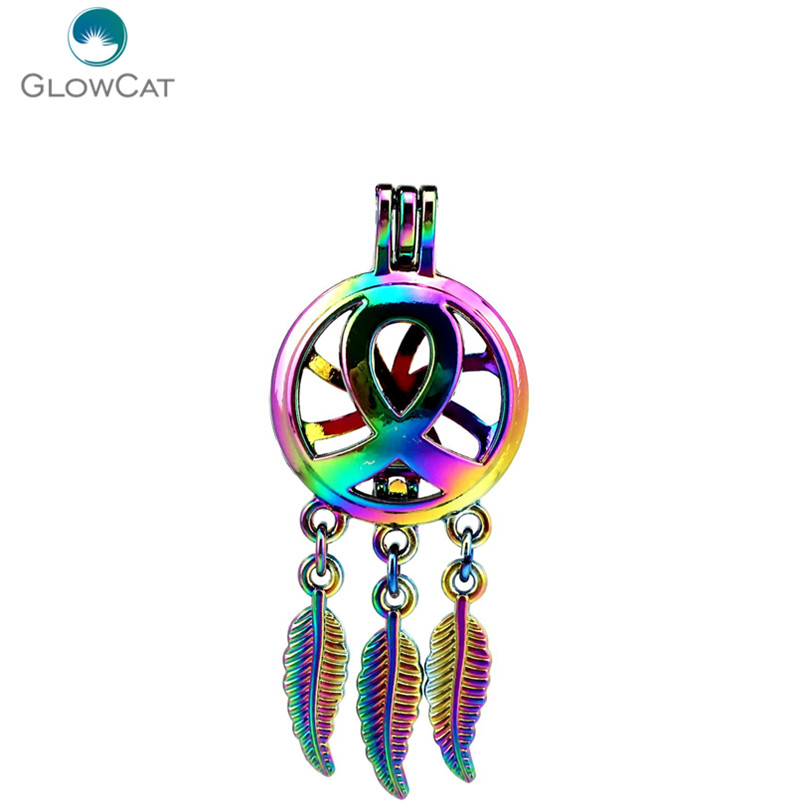 Pendants Fashion Style C725 5pcs/lot Rainbow Color Beaty Dream Catcher Ribbon Leaf Cage Pendant Pearl Locket Fairytale Party Necklaces & Pendants