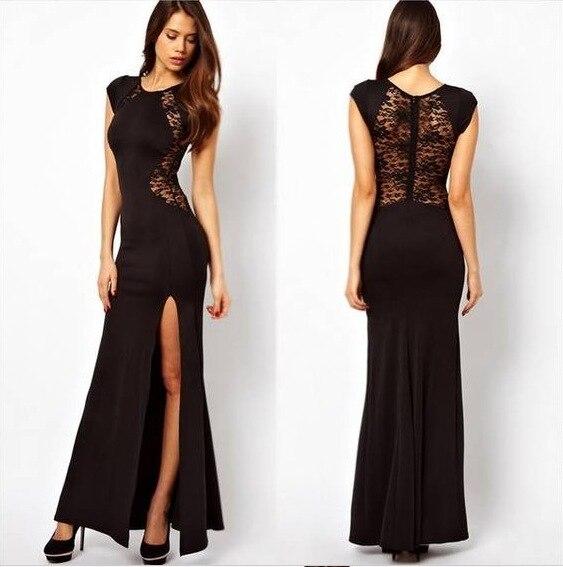 Lace inserts double side splits maxi dress xl