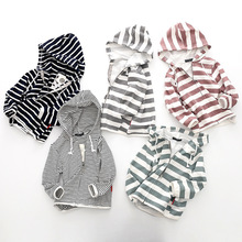 2019 Spring and Autumn Festival New Kids Sports Hooded Zipper Striped Jacket. Boys girls  tops.