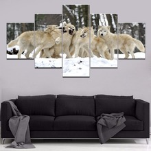 Groups Of White Wolf HD Print Animal Paintings Wall Art Home Decor Modern Wall Decor Canvas Painting Canvas Room 5 Piece Artwork wall art wolf howl print canvas paintings