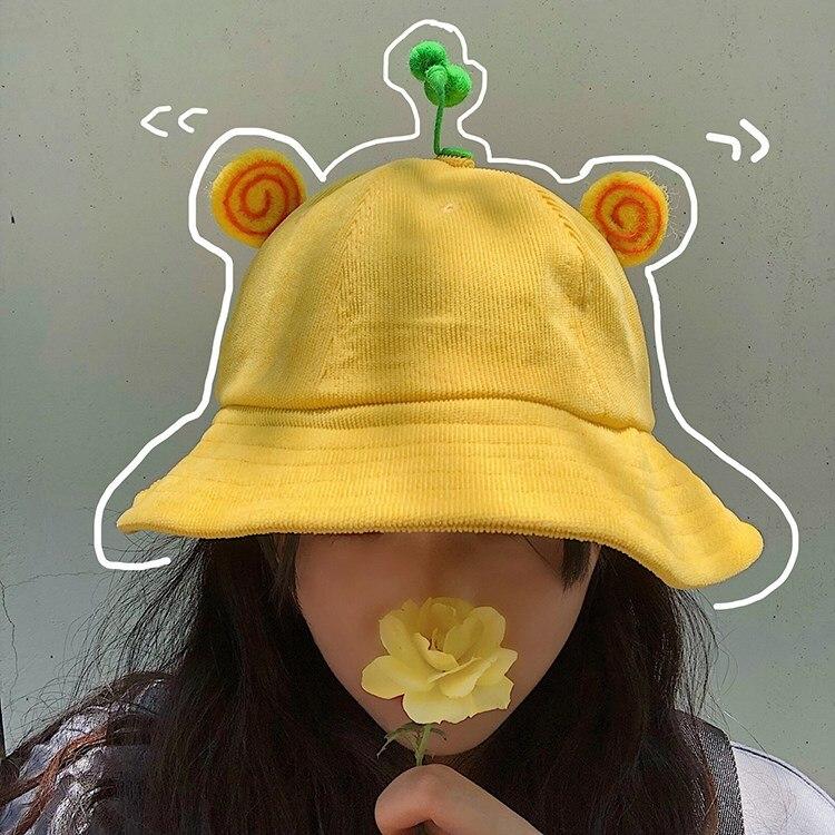 Unisex Summer Bucket Hat Sun Protection Corduroy Bean Sprouts Cartoon Animal Casual Fisherman Hat