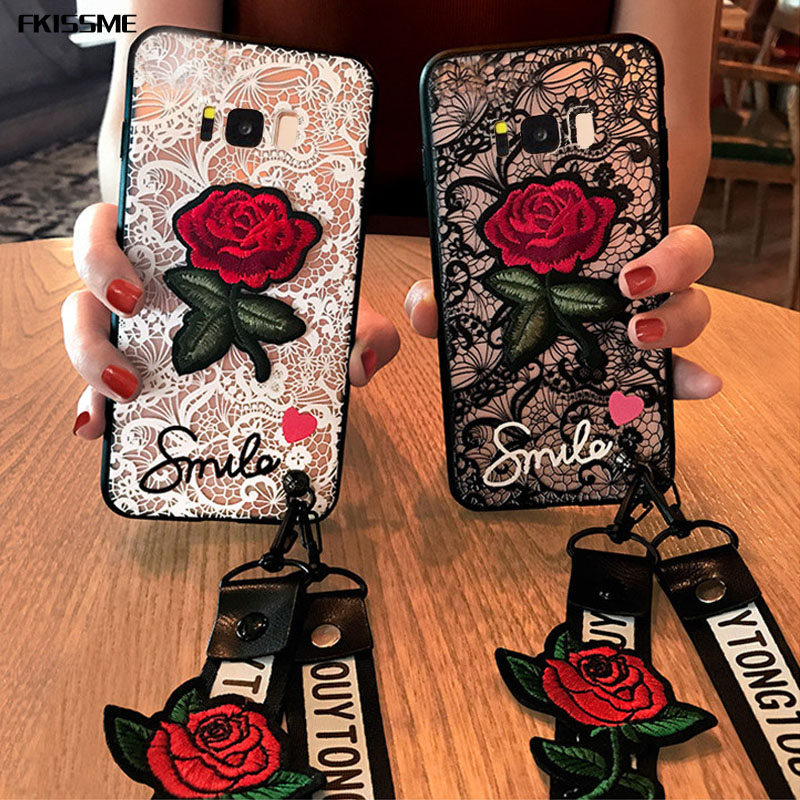 Fashion Phone Cover Lace Rose Flower Case For Samsung Galaxy Note 9 8 5 S8 S9 Plus S7 Edge S6 A8 2018 A5 A3 A7 J5 J3 J7 2017 J2