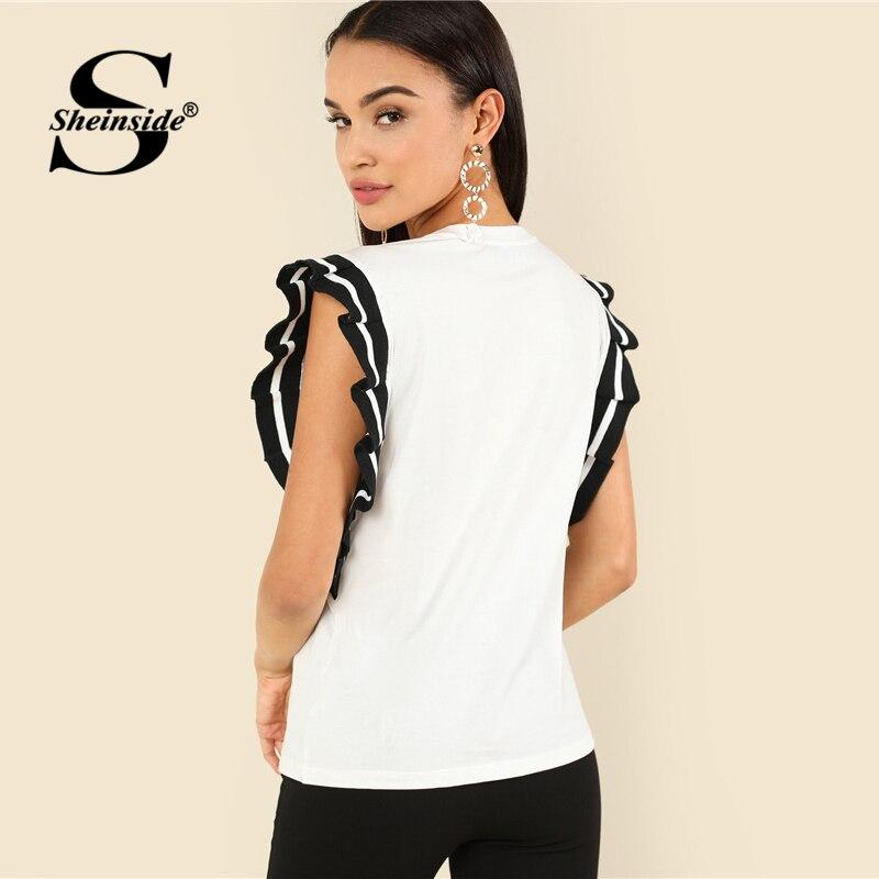 Sheinside полосой рюшами «летучая мышь» футболка Черный и белый рукавов Элегантный Топ Для женщин Лето Colorblock женские офисные футболка