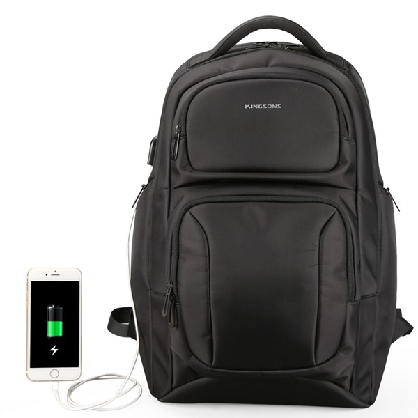 Kingsons Mens USB Charging Backpack Anti Theft Shoulder Bags Laptop Backpacks Travel Bag Male Casual