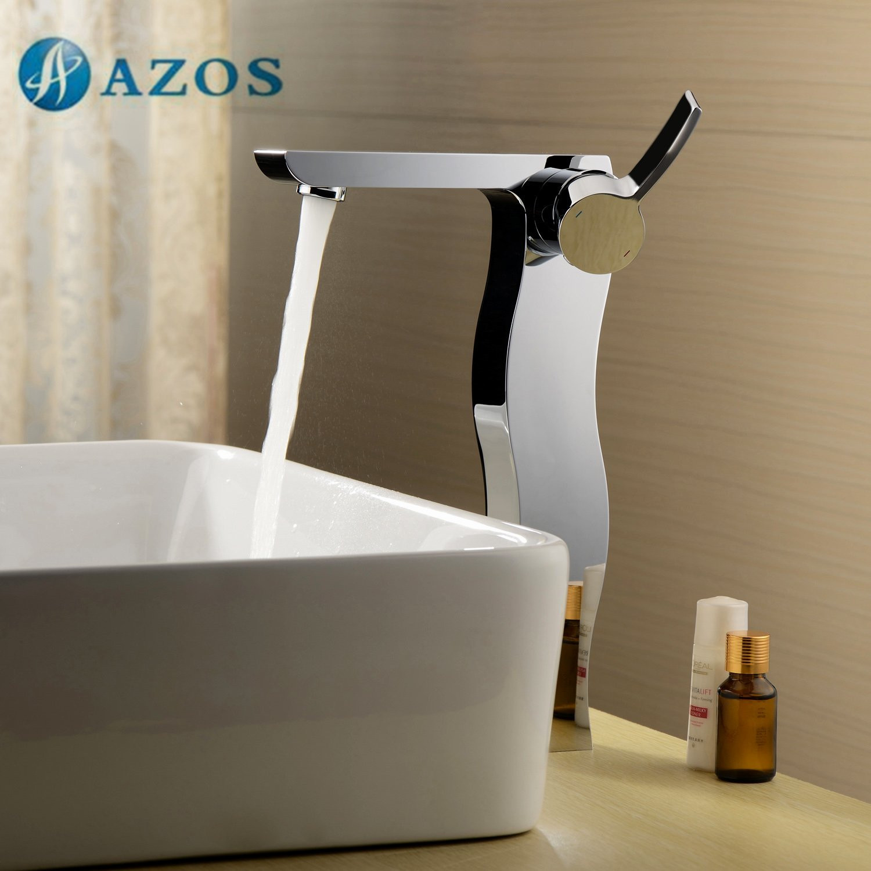 AZOS Bathroom Basin Tap Brass Chrome Polish Color Single Hole Deck ...