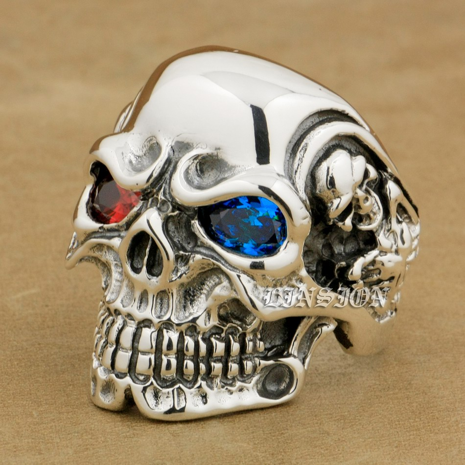 Brand LINSION Solid 925 Sterling Silver Titan Skull Red Blue CZ Stone Eyes Mens Biker Rocker