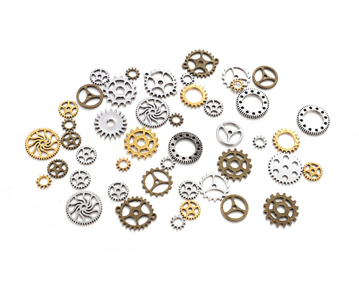 8 50glot Different Size Gears DIY Jewelry Accessories For Necklace Earring Pendant Bracelet Gold Silver Gear Diy Jewelry Making