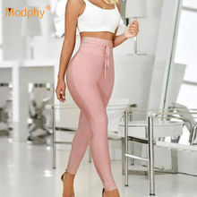 2019 New WomenS High Waist Bandage Slim Stretch Pencil Pants Rayon Tassel Fashion Sexy Bodycon