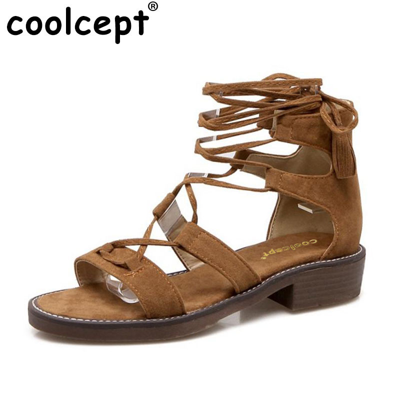 Coolcept 4 Colors Size 34-43 Women Gladiator Flats Sandals Summer Shoes Women Cross Strap Flats Sandals Beach Vacation Footwears factory sell fashion gladiator t straps summer flats sweet bow shoes casual dress women sandals 4 colors eur size 34 39 ddm917