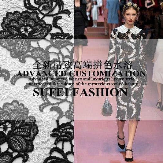 45b66b29ca 120 m de ancho negro y blanco bordado del cordón para el material DIY del  remiendo del vestido al por menor y al por mayor