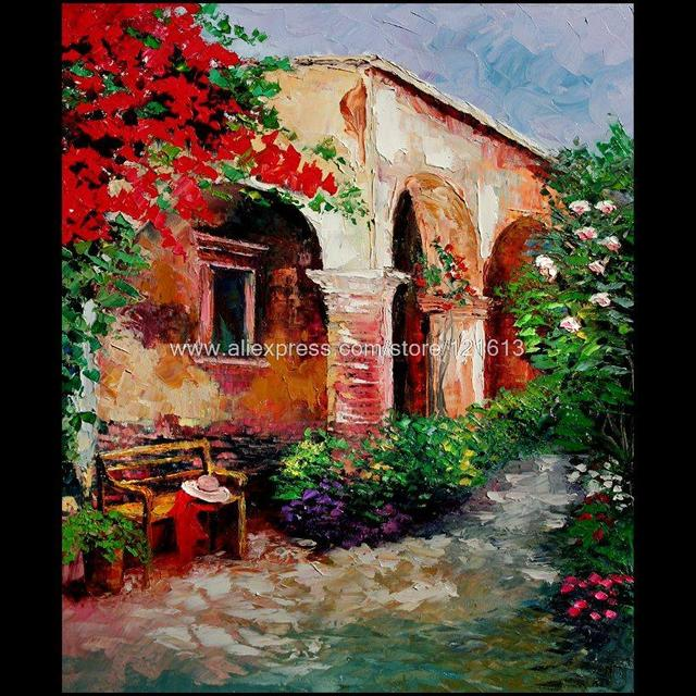 Good Canvas Paints Garden Courtyard Italian Modern Abstract Restaurant  Background On Canvas Wall Decoration Art