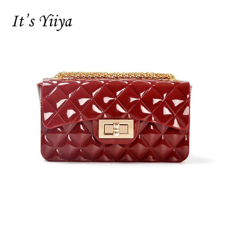 Its YiiYa Women Hand Bag Casual Fashion For Party Hasp Solid Color Handbag Girls Lady Chains Messenger Bags Pocket Bags ZB006