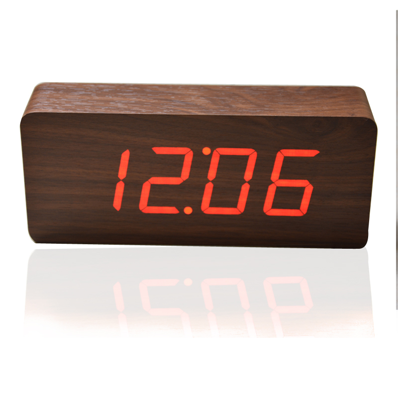 buy top quality alarm clocks thermometer wood led clocks sounds control clock. Black Bedroom Furniture Sets. Home Design Ideas