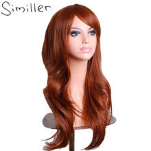 Similler Women 28″ Brown Long Curly Synthetic Cosplay Wigs For Party Christmas High Temperature Fiber Hair Purple Red Green
