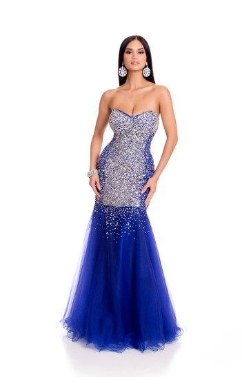 2016 Miss universo de lujo brillante piedras Celebrity vestidos lentejuelas del amor de Miss filipinas azul real vestidos noche
