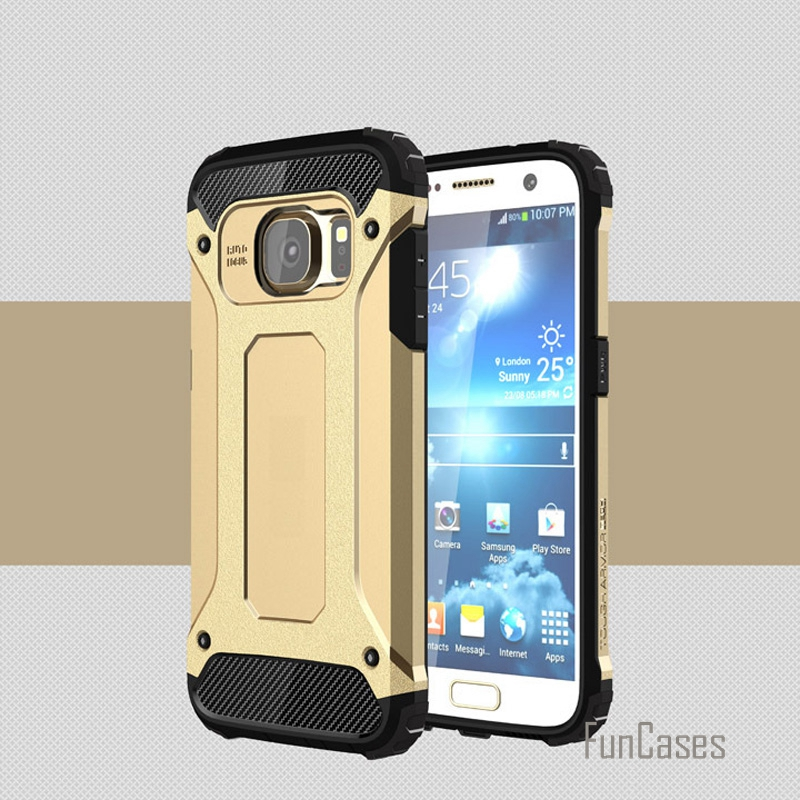 Dual layer hard heavy duty pc + tpu armor case for samsung galaxy s7 edge s7 s6 edge s6 shock proof tough rubber covers cases >&