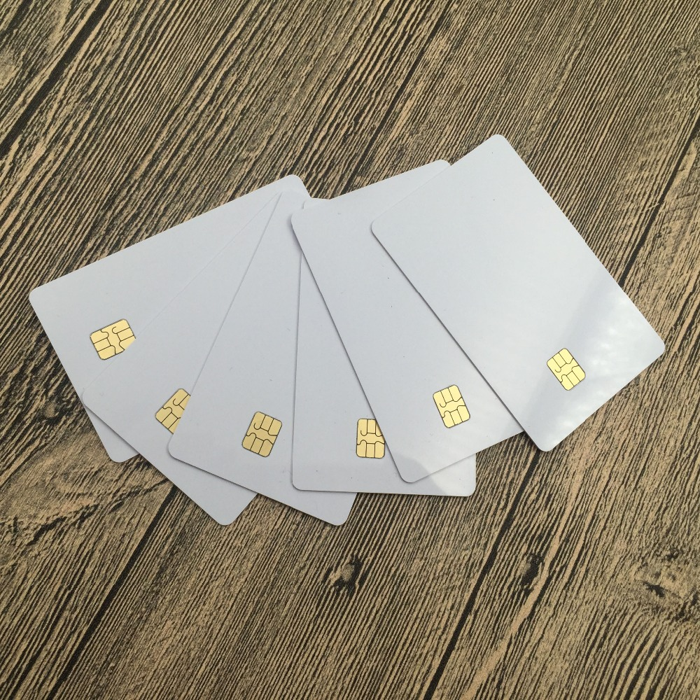 free shipping 10pcs SLE4442 contact ic blank card smart card for zebra printer