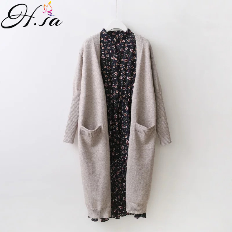 H.SA New Women Long Sweater Cardigans 2017 Fashion Ladies Outerwear Autumn Winter Open Stitch Long Knit Cardigans Tricot Jumper